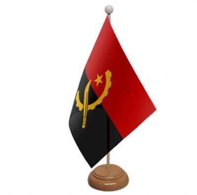 ANGOLA - TABLE FLAG WITH WOODEN BASE